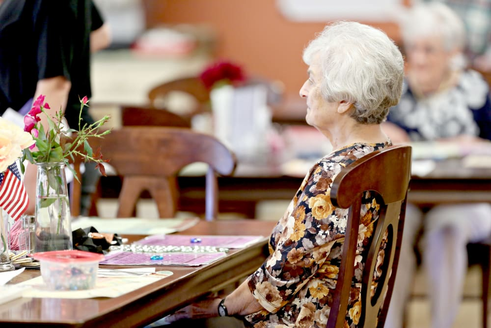 A resident ready for bingo at Providence Assisted Living in Senatobia, Mississippi.