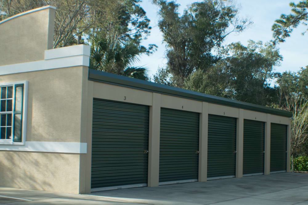 Exterior of large storage units at Best American Storage in Ormond Beach, Florida