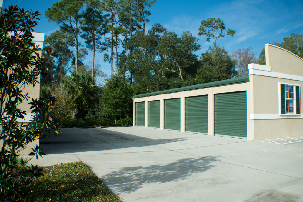 Storage units and surrounding landscape at Best American Storage in Ormond Beach, Florida