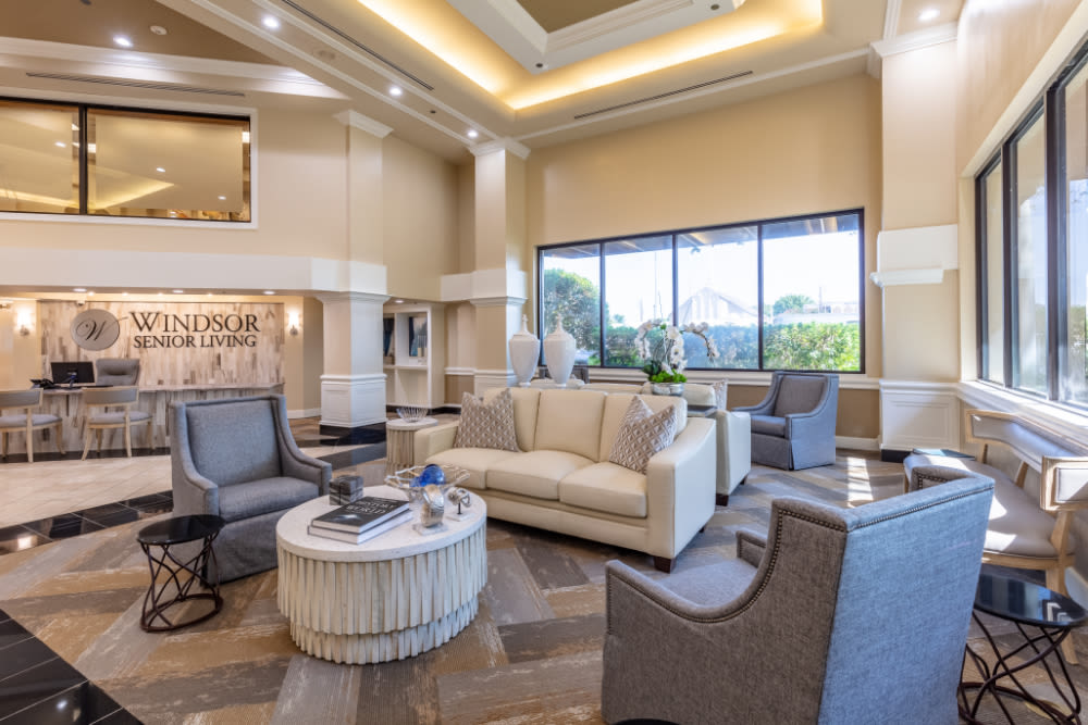 Interior lounge of Windsor Senior Living in Dallas, Texas