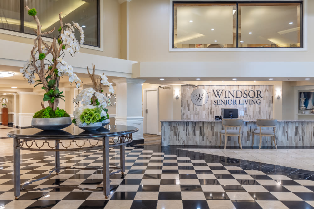 Front desk at Windsor Senior Living in Dallas, Texas