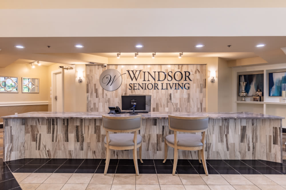 Reception area at Windsor Senior Living in Dallas, Texas