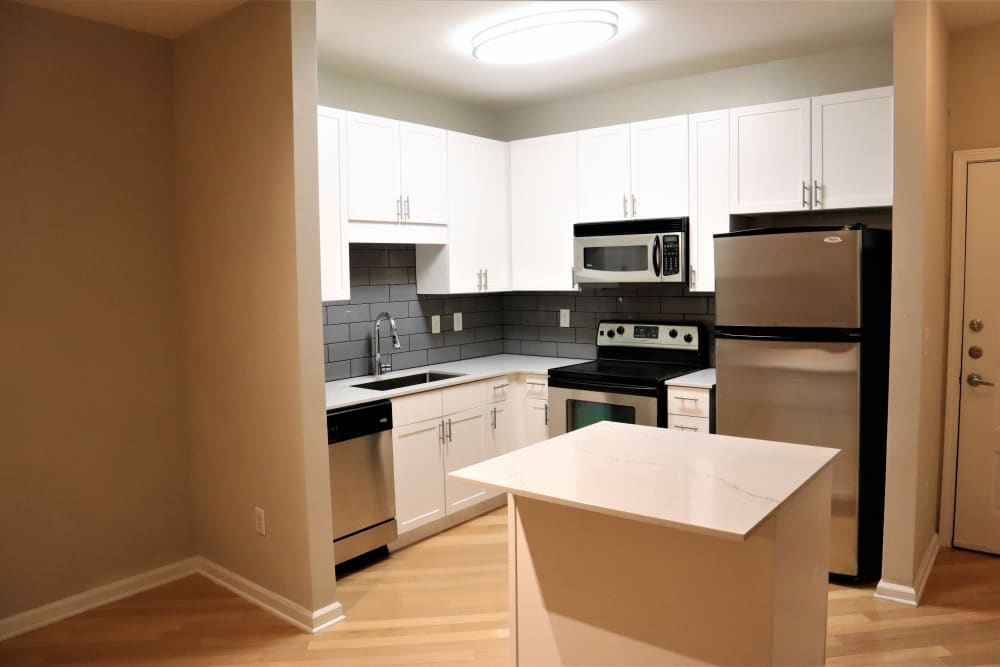 Renovated kitchen at City View in Atlanta, Georgia.