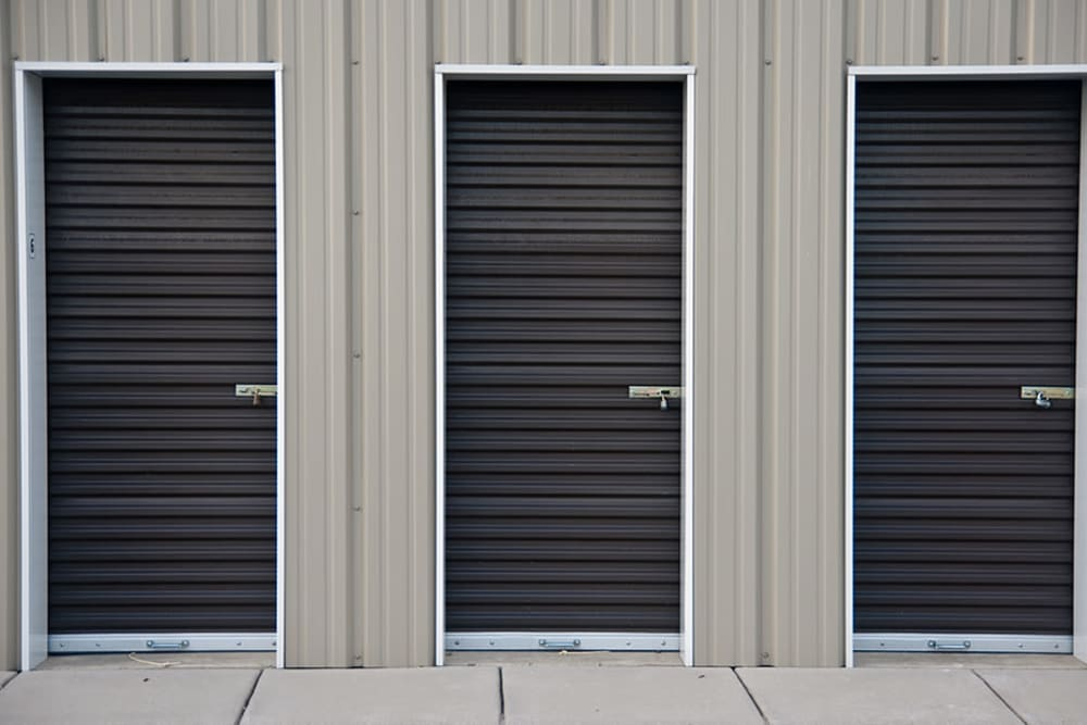 Roll-up doors for some smaller self storage units at StayLock Storage in Simpsonville, South Carolina