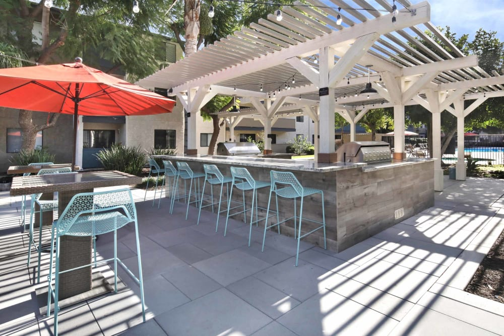 Barbecue area with gas grills at Haven Warner Center in Canoga Park, California