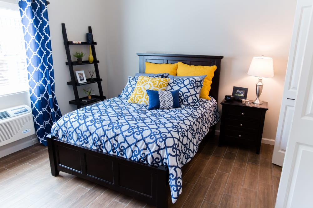 Resident bedroom at Inspired Living Alpharetta in Alpharetta, Georgia.