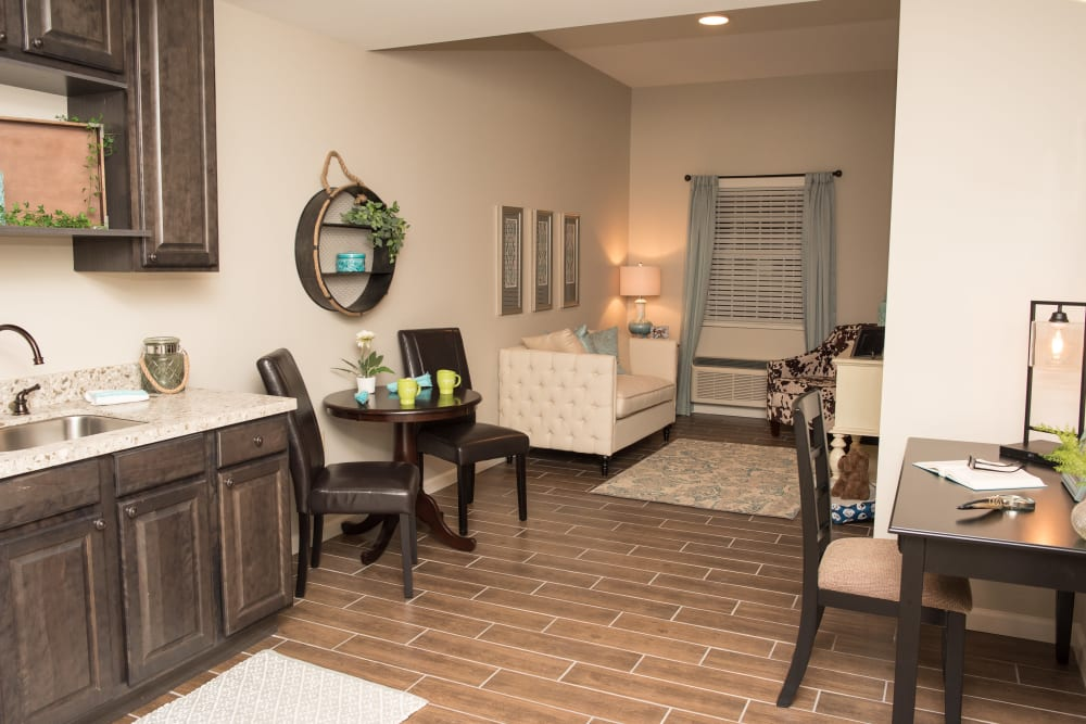 A resident apartment at Inspired Living Sugar Land in Sugar Land, Texas.