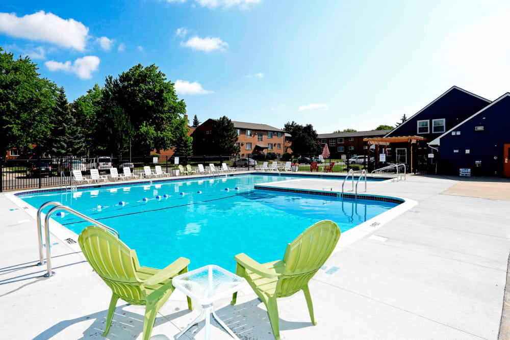 Outdoor pool chairs at The Loop on Greenfield in Oak Park, Michigan