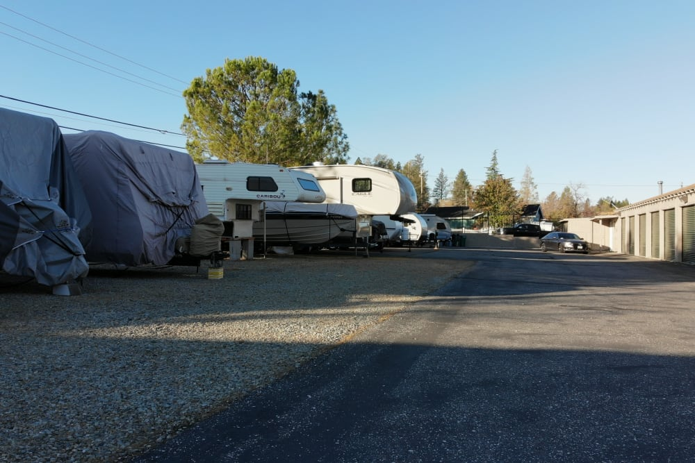RV and boat parking at Superior Self Storage in Grass Valley, California