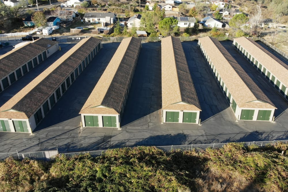 Wide aisles at Superior Self Storage in Grass Valley, California