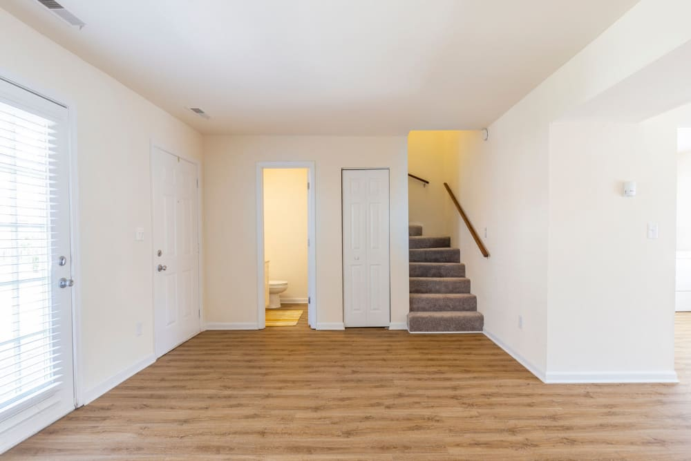 Beautiful hardwood flooring in a split-level townhome at North Woods in Charlottesville, Virginia