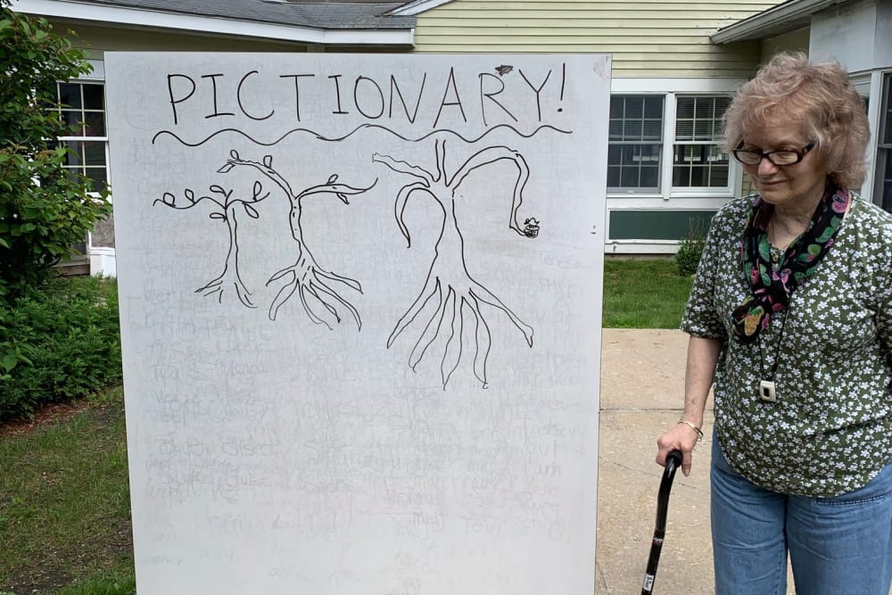 Residents playing Pictionary at Wood Haven in Tewksbury, Massachusetts