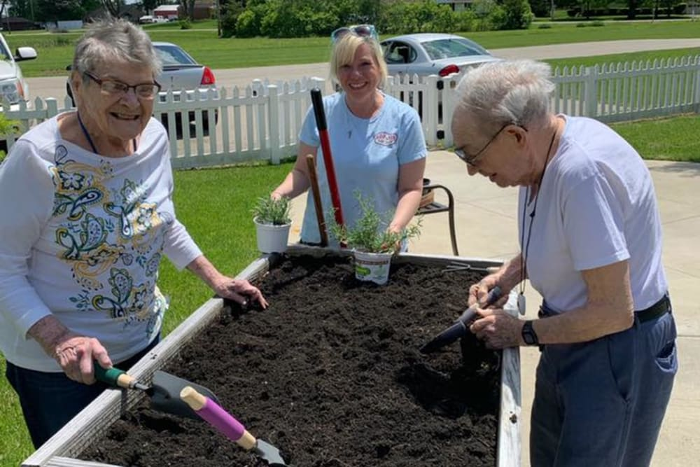 Residents gardening at Landings of Huber Heights in Huber Heights, Ohio