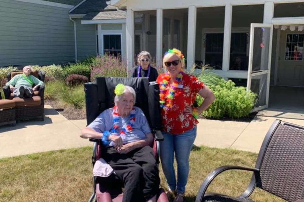 Residents enjoying some sunshine at Landings of Huber Heights in Huber Heights, Ohio