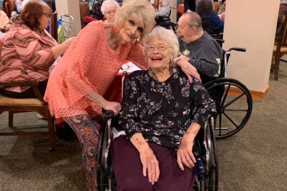 Two happy residents at Landings of Huber Heights in Huber Heights, Ohio