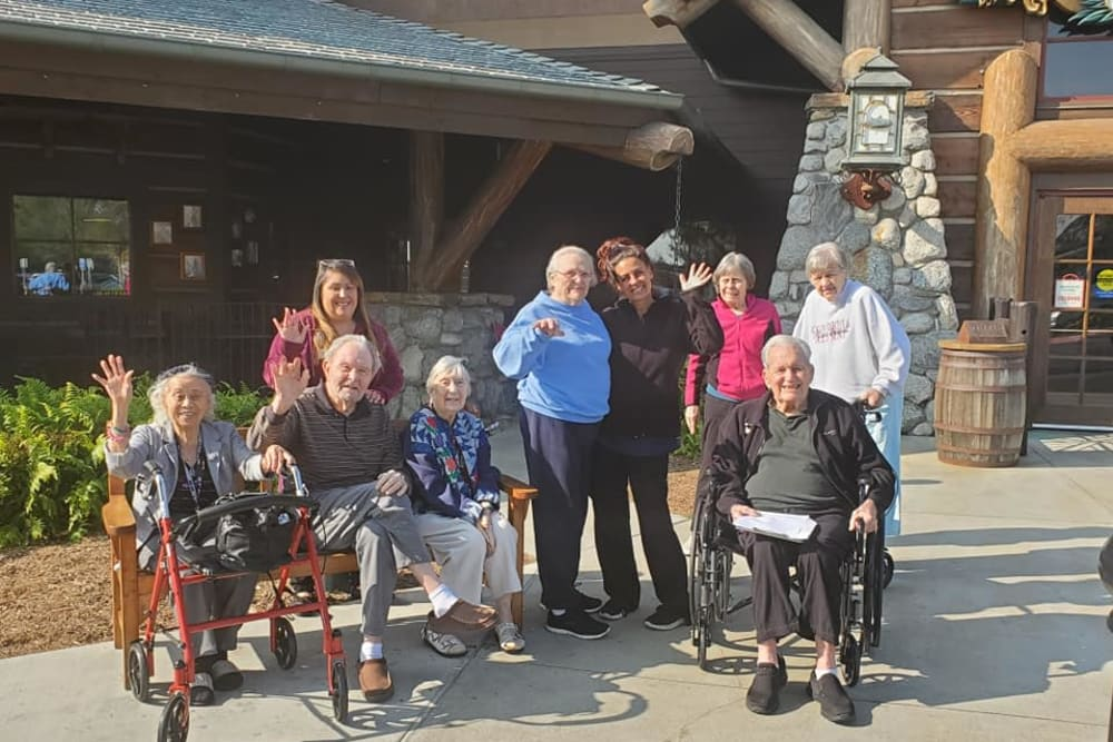 Residents gathered for a photo at Sunlit Gardens in Alta Loma, California