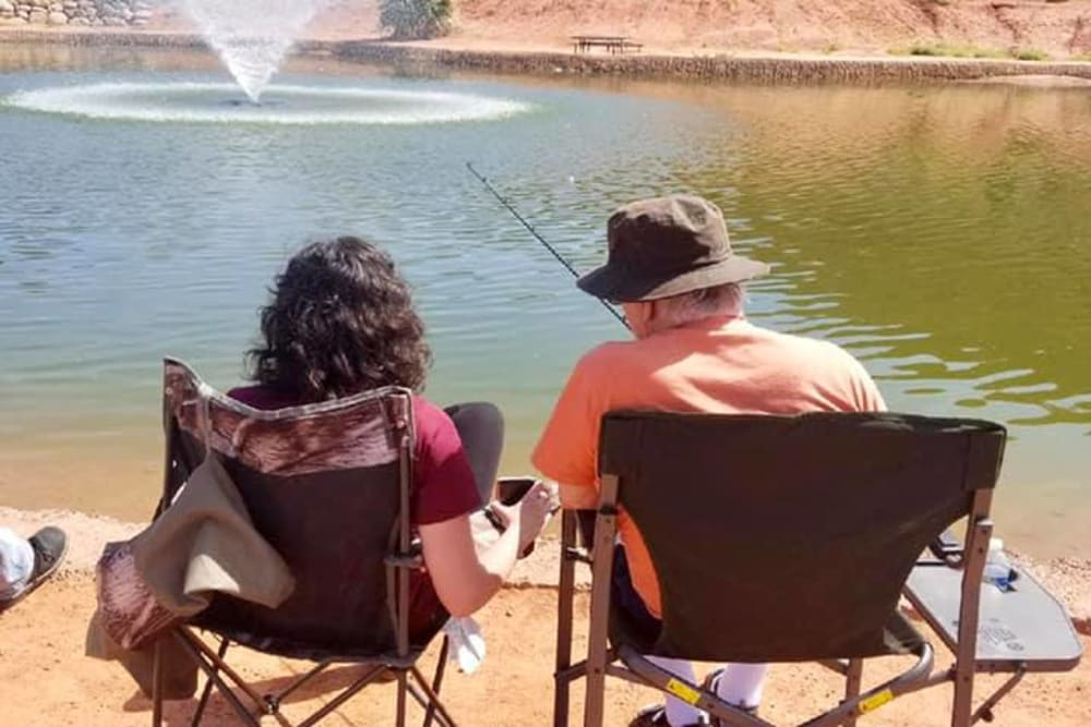 Residents enjoying some relaxing fishing at The Retreat at Sunbrook in St. George, Utah