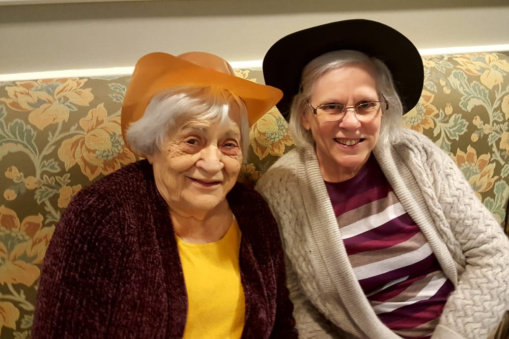 Residents in fun hats at Chapel Hill in Cumberland, Rhode Island