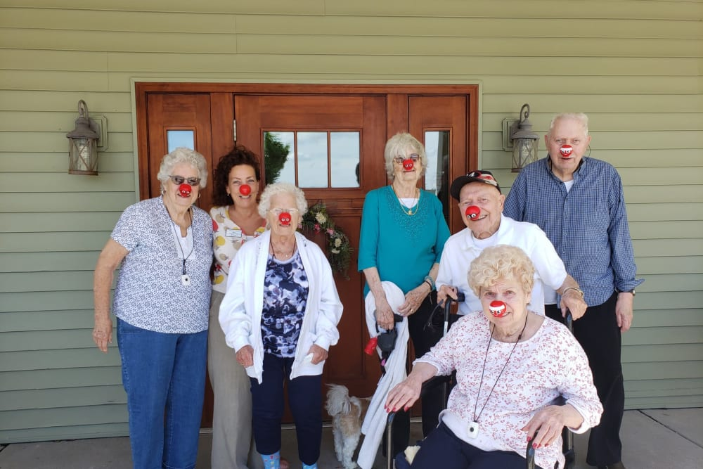 Residents with clown noses on at Landings of Oregon in Oregon, Ohio