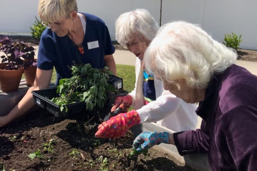 Residents gardening at Landings of Oregon in Oregon, Ohio