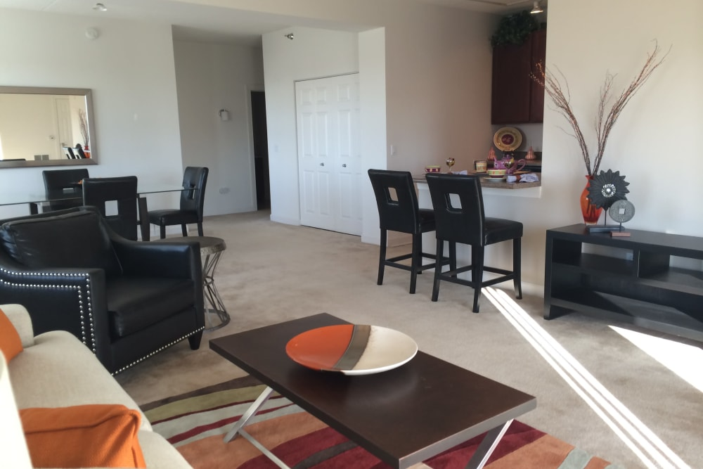 Bright living room at 301 Riverwalk Place in Buffalo Grove, Illinois