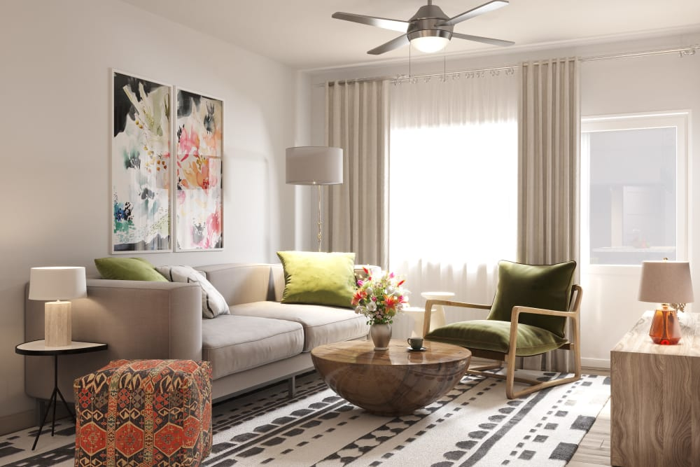 Beautiful living room at The District at Chandler in Chandler, Arizona