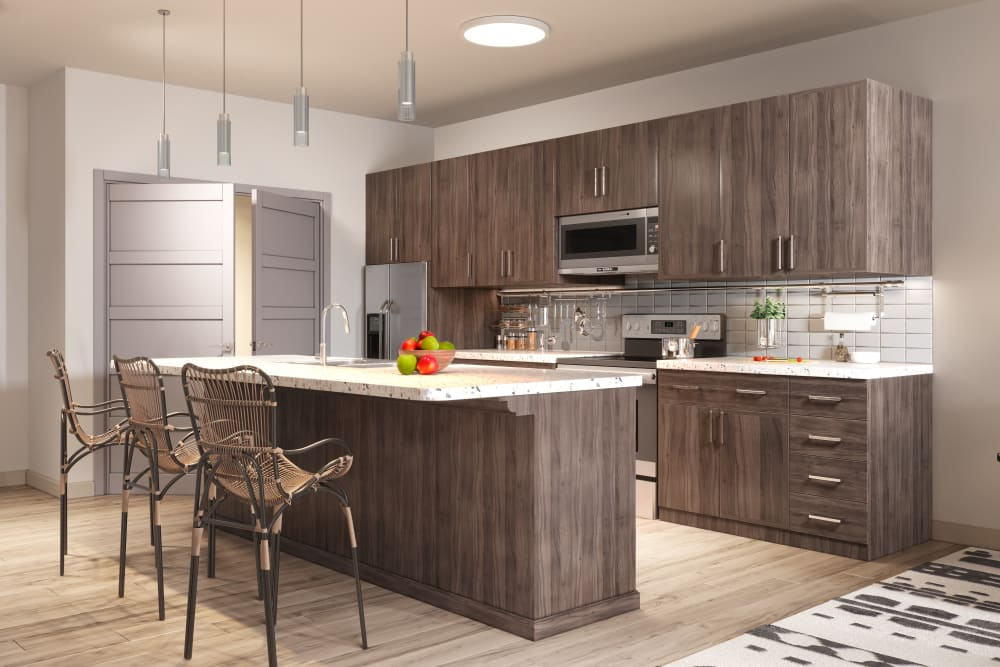 Modern kitchen with island at The District at Chandler in Chandler, Arizona