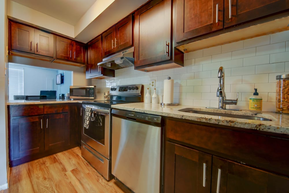 Kitchen with plenty of counter space at Beacon Pointe Apartments & Townhomes in Sparrows Point, Maryland