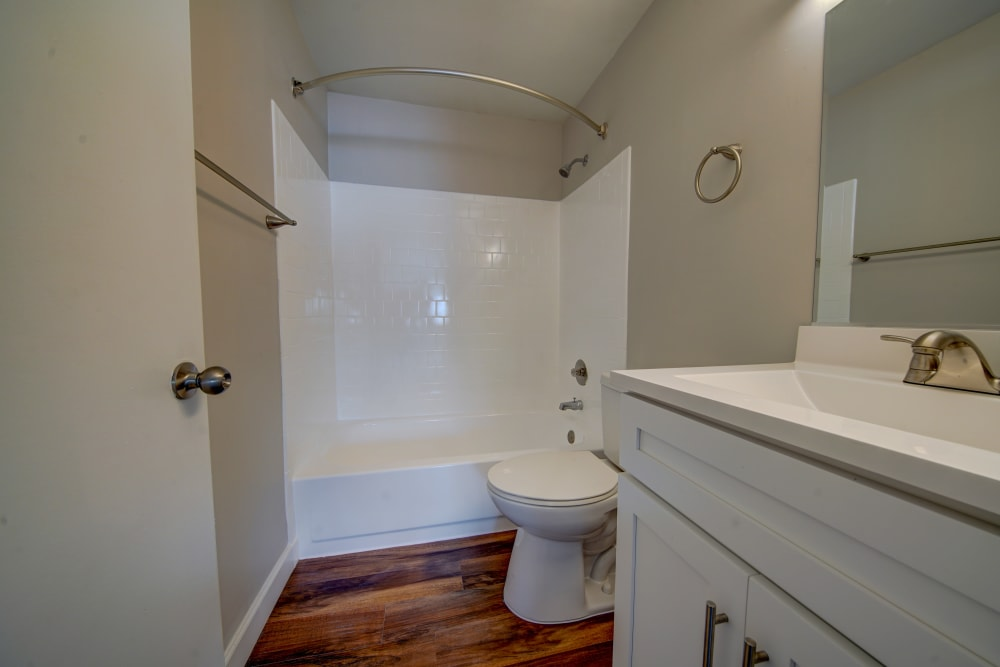 Clean bathroom at Beacon Pointe Apartments & Townhomes in Sparrows Point, Maryland