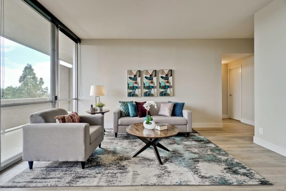 The living room of a newly renovated apartment at The Marc, Palo Alto in Palo Alto, California