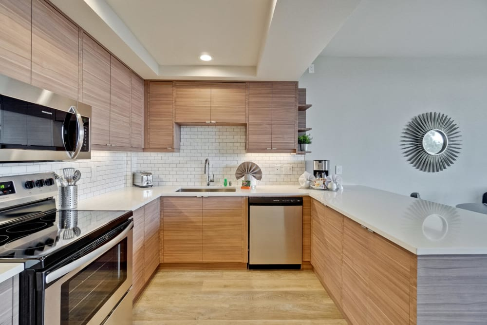 The kitchen of a newly renovated apartment at The Marc, Palo Alto in Palo Alto, California