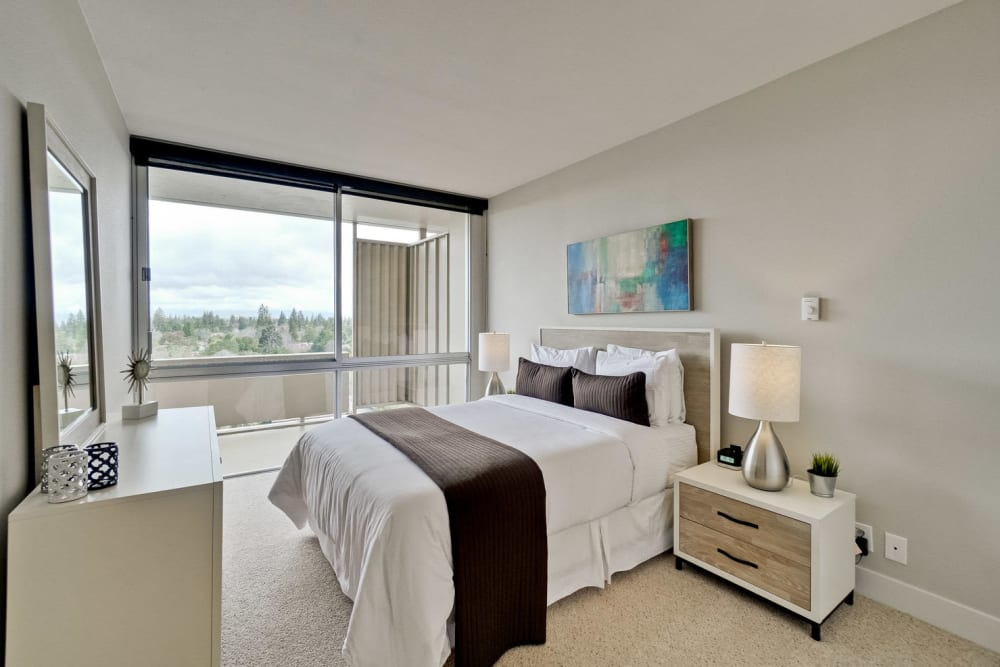 The bedroom of a newly renovated apartment at The Marc, Palo Alto in Palo Alto, California