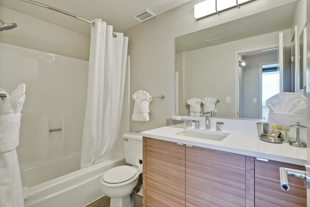 The bathroom of a newly renovated apartment at The Marc, Palo Alto in Palo Alto, California