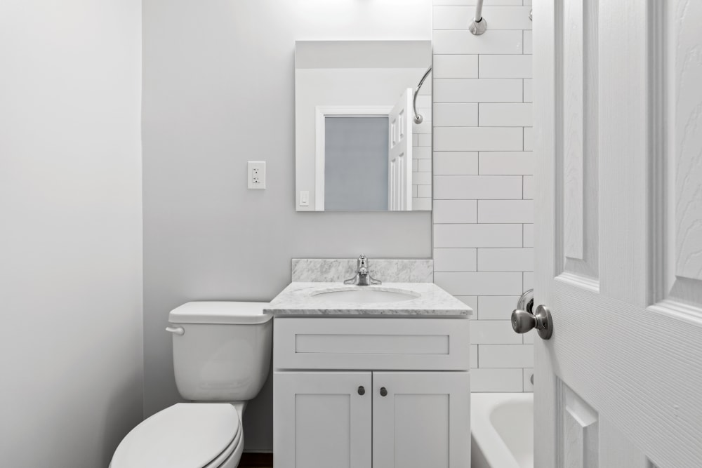 Clean bathroom at Eagle Rock Apartments at Mineola in Mineola, New York