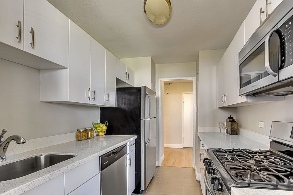 Fully equipped kitchen at Chestnut Hill Tower in Philadelphia, Pennsylvania