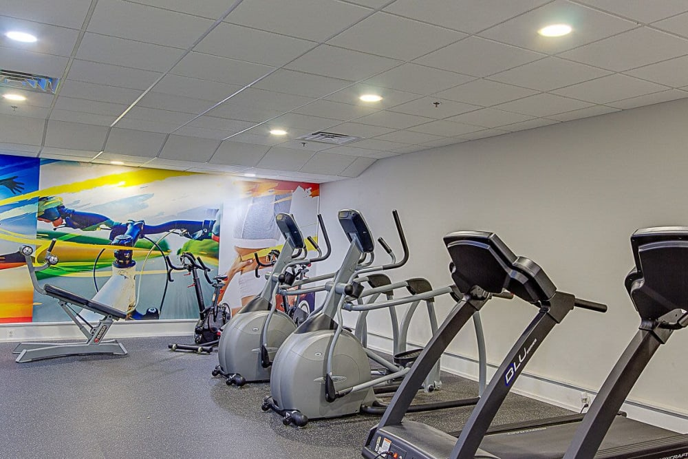 Cardio machines in Chestnut Hill Tower's fitness center in Philadelphia, Pennsylvania