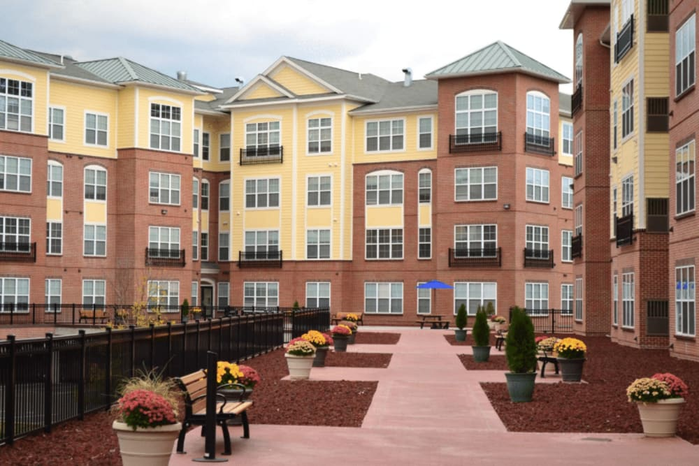 Beautifully landscaped courtyard at Westville Village Apartments in New Haven, Connecticut