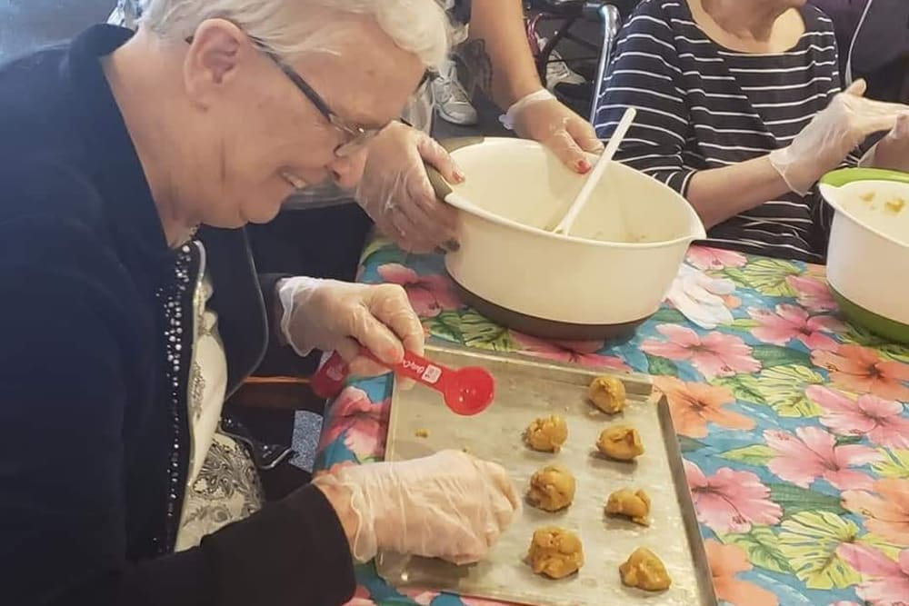 A resident making cookies at Brentwood at LaPorte in La Porte, Indiana