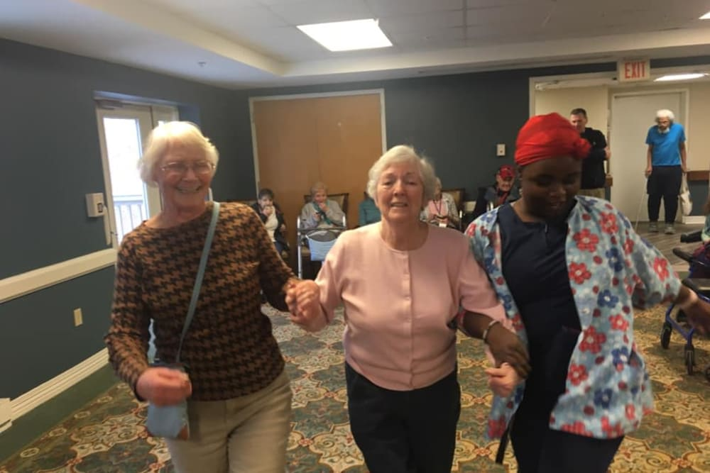 Residents dancing at Smithfield Woods in Smithfield, Rhode Island