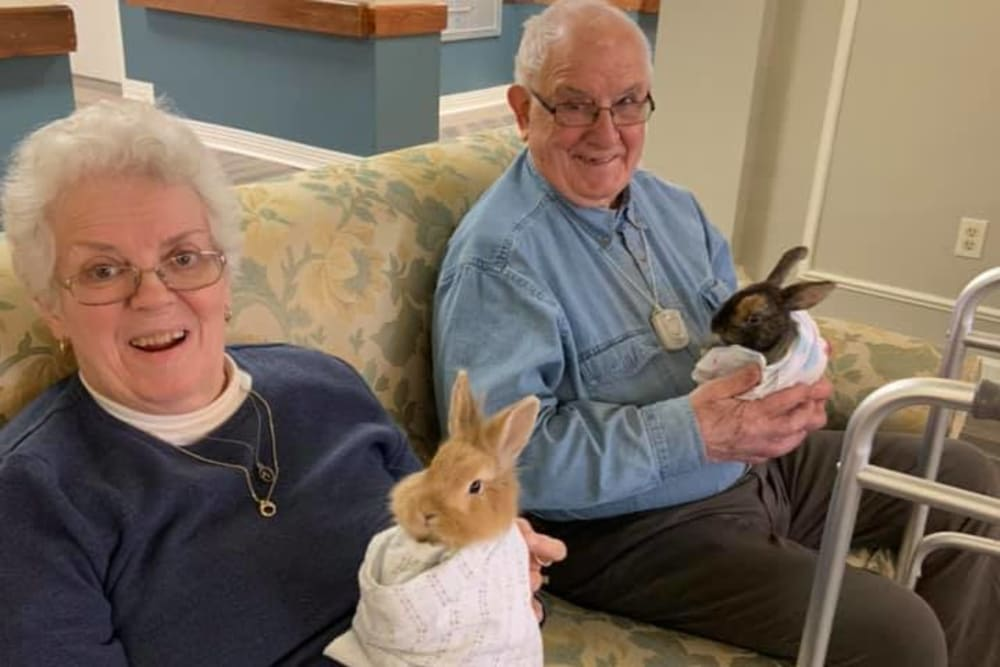 Residents holding bunnies at Smithfield Woods in Smithfield, Rhode Island