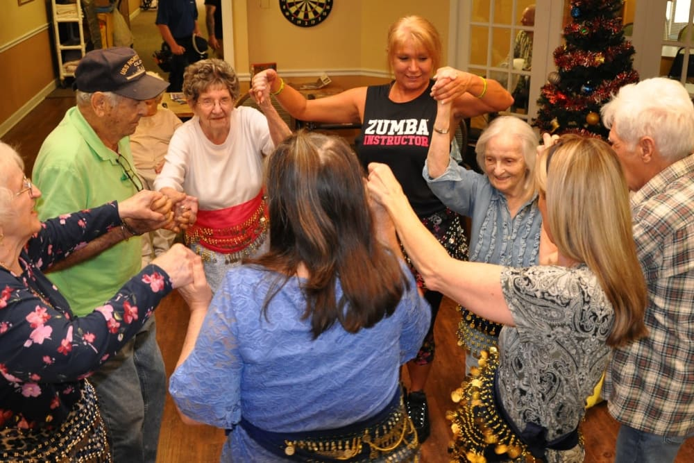 Residents exercising and having fun at Spring Oaks in Brooksville, Florida