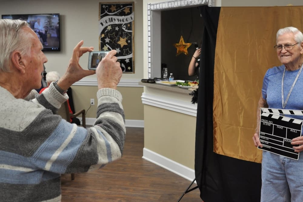 Residents taking photos at The Grande in Brooksville, Florida