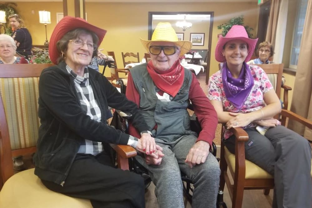 Residents in cowboy hats at The Reserve at East Longmeadow in East Longmeadow, Massachusetts