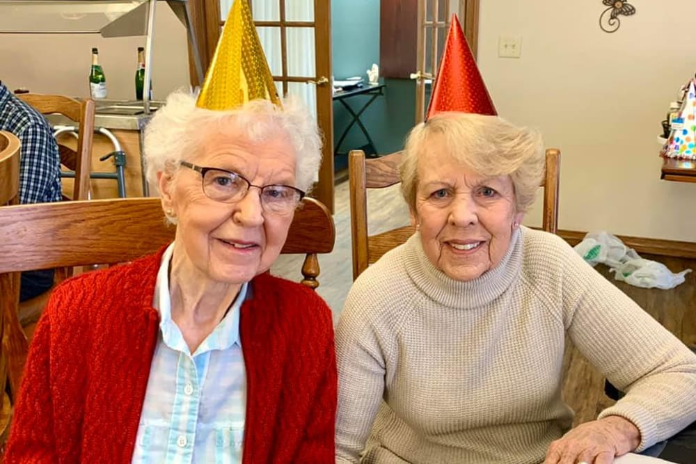 Residents celebrating a birthday at The Villas at St. James in Breese, Illinois