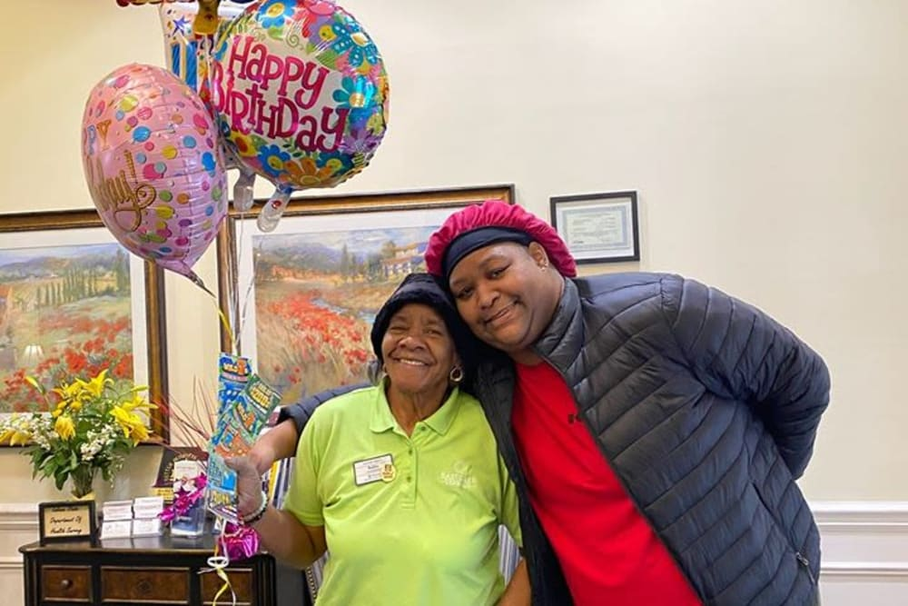 A resident celebrating a birthday at Eastlake Terrace in Elkhart, Indiana