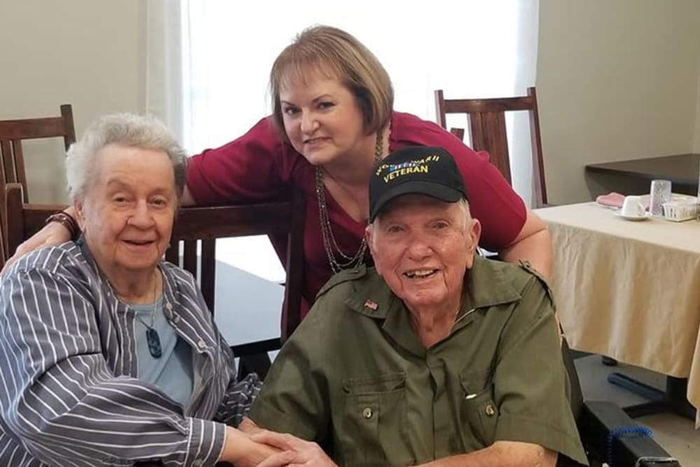 Residents and a guest at Rosewood Assisted Living in Lafayette, Louisiana