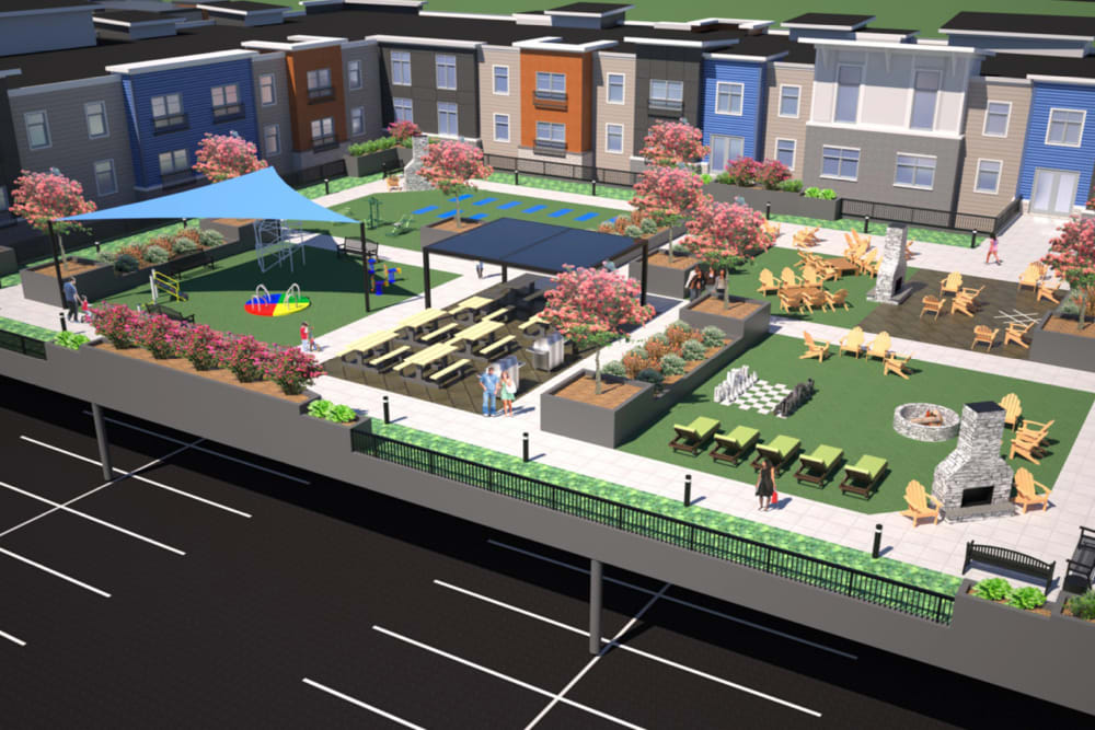 A rendering of the outdoor community amenties at The Forge in Buffalo, New York