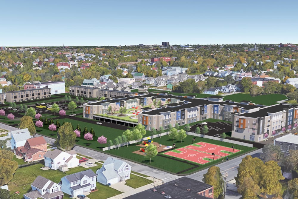 A rendering of the basketball courts at The Forge in Buffalo, New York