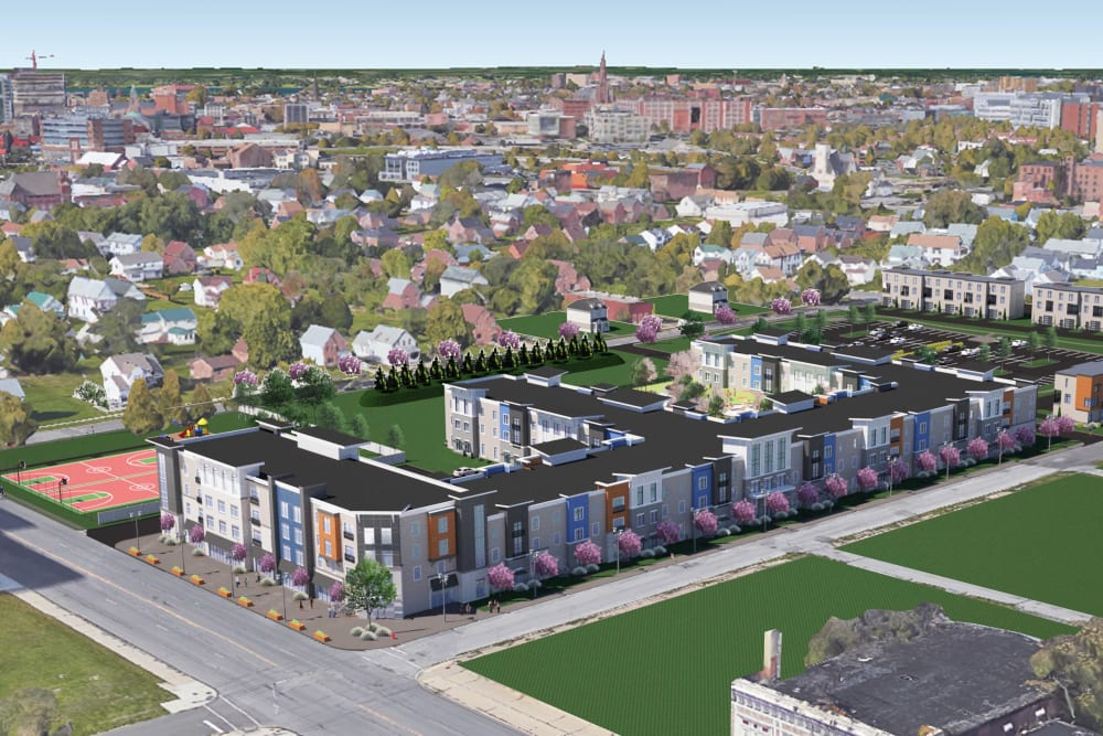 A rendering of the aerial view of  The Forge in Buffalo, New York