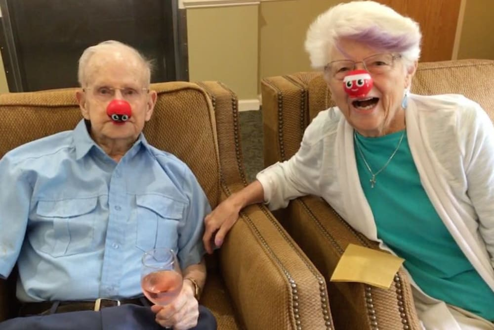 Two residents with fun clown noses on at The Crossings at Bon Air in Richmond, Virginia